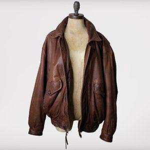 Vintage Brooks Brothers Leather Bomber Jacket L